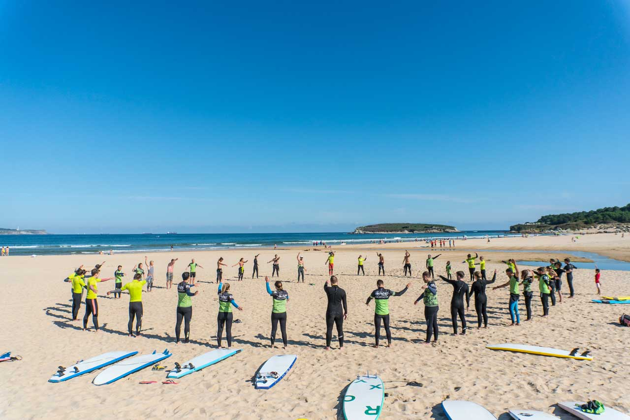 A surfing lesson at the beach in Somo Spain