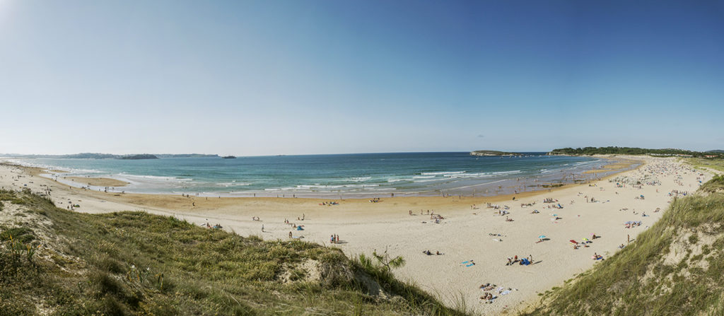 Wide view of the surfing beach of Somo and Loredo in Spain